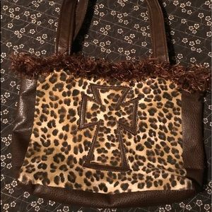 Handmade Leopard and Leather Purse or Bag